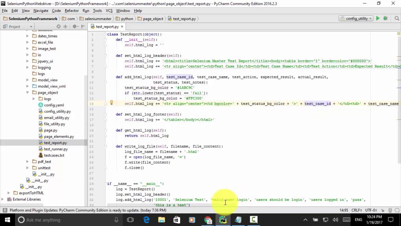 lesson 21 python webdriver page object pattern framework test