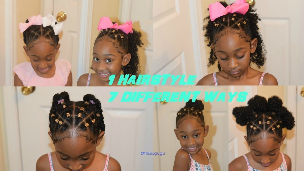quick easy and cute kids/girls natural hairstyles:7 hairstyles in 1(beginner friendly braids)
