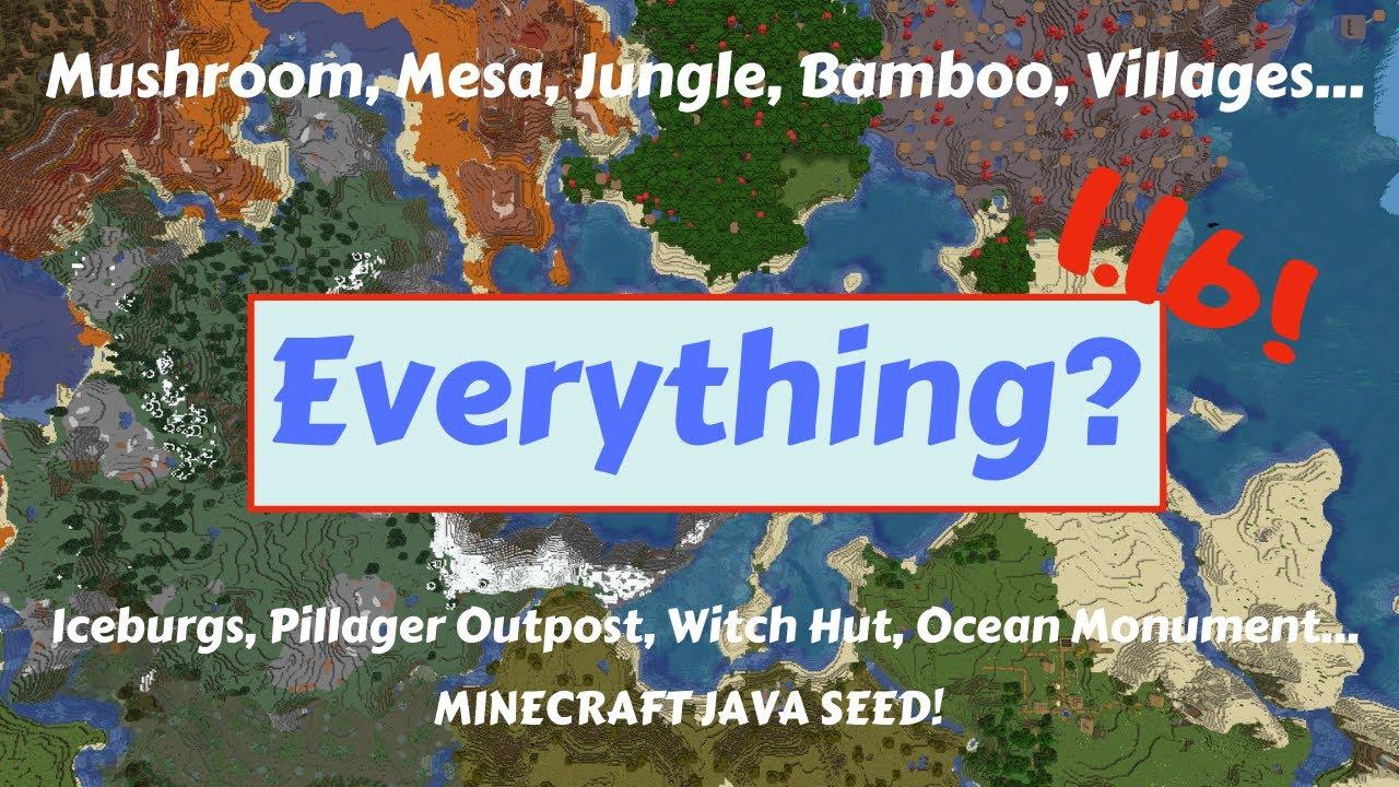 Minecraft 1 16 Seed Everything Near Spawn Mushroom Mesa Bamboo One Of My Best Yet Youtube
