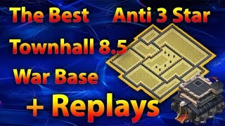 Clash Of Clans - The Best New Townhall 8.5 (TH9) Anti 3 Star War Base 2016 + Replays