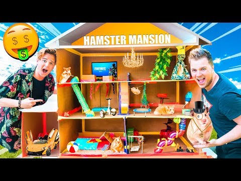 BILLIONAIRE BOX FORT HAMSTER HOUSE!! Pool, Gaming Room, Movie Theatre & More!