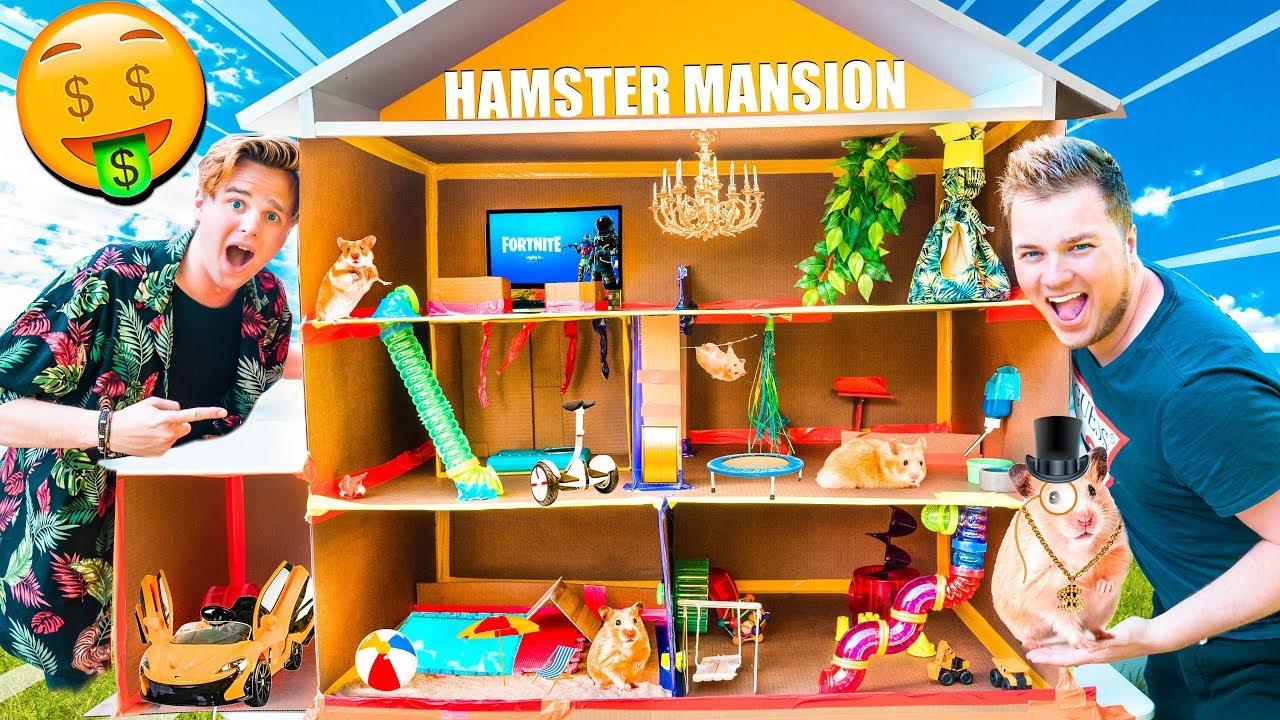 BILLIONAIRE BOX FORT HAMSTER HOUSE!!