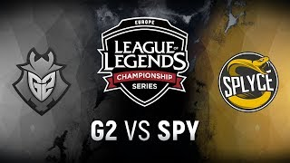G2 vs. SPY  - Week 3 Day 1 | EU LCS Spring Split |  Splyce vs. G2 Esports (2018)