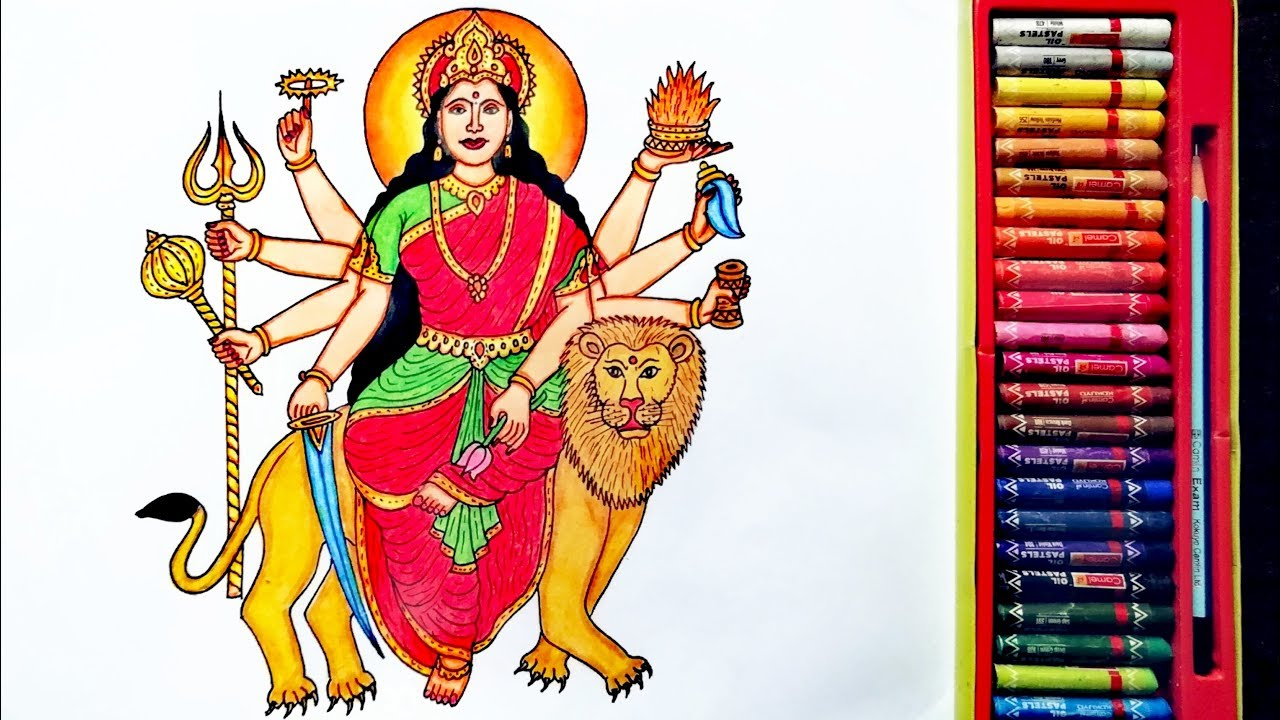 How To Draw Durga Mata Step By Step Durga Devi Drawing By Drawing Art Youtube