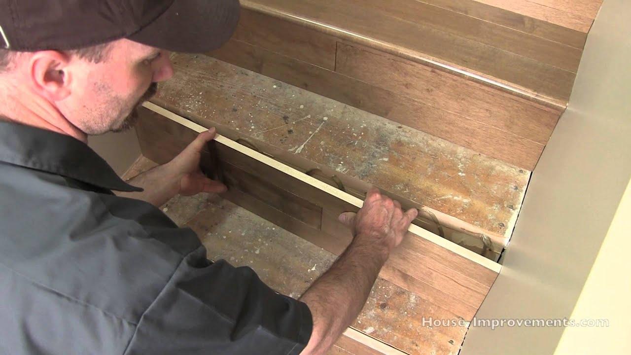 How To Install Hardwood On Stairs Youtube   Installing Hardwood On Stairs   Tile Riser White Landing Tread   Combined Wood   Brazilian Cherry Hardwood Stair   Cream Wood   Bottom Stair