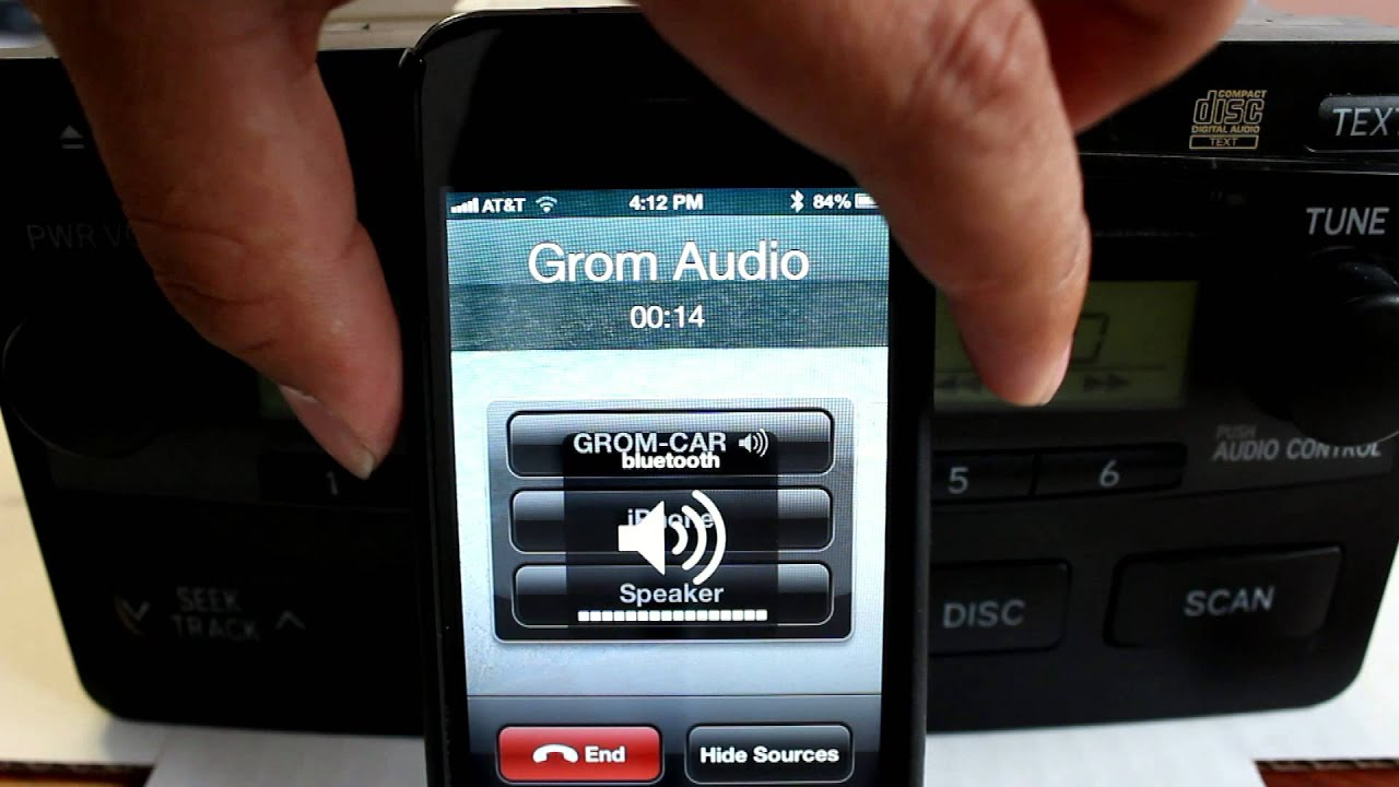 Grom Bluetooth Car Kit With Iphone 4 Demo For Toyota 2001