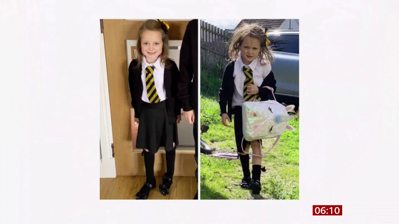 Lucie's first day at school goes viral (fun story) (Scotland) - BBC News -  24th August 2019