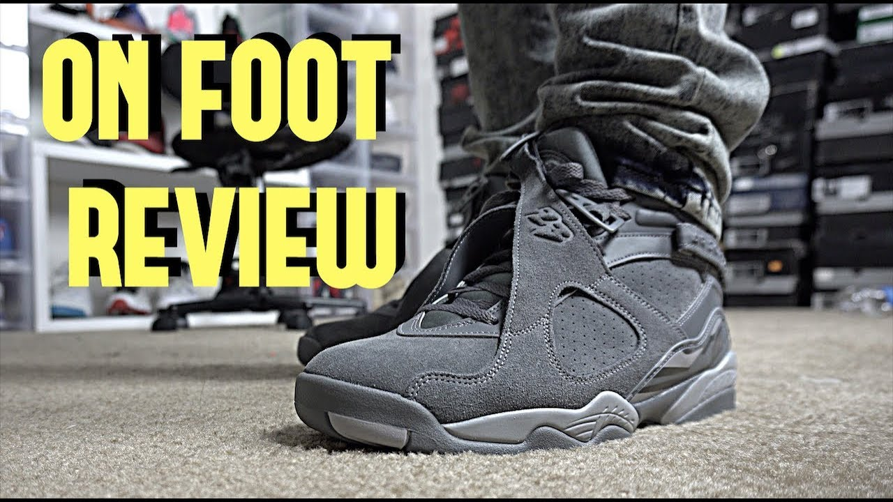 a903a67b5dc Air Jordan Cool Grey 8 On Foot Review - YouTube