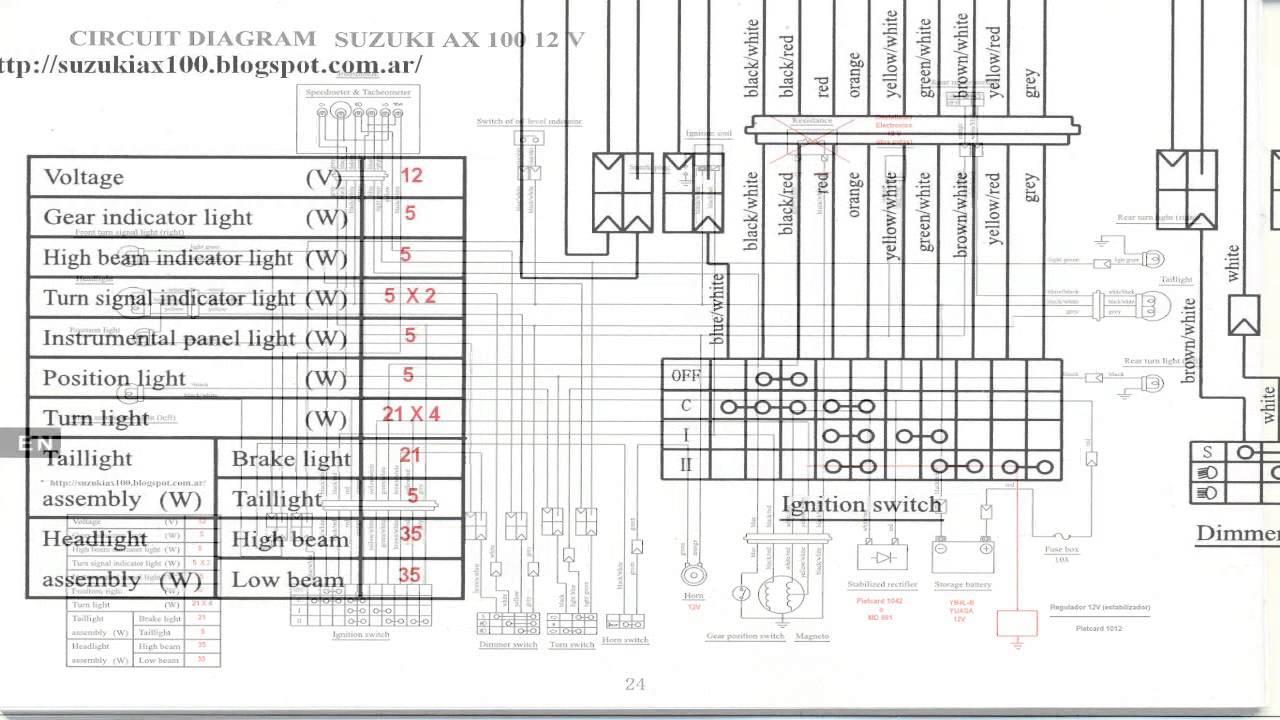 suzuki ax100 wiring diagram diagrama del circuito electrico para moto suzuki ax 100 12 volt hd suzuki ax100 [ 1280 x 720 Pixel ]