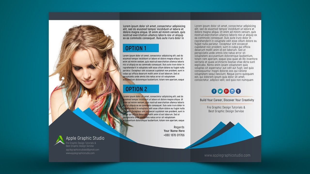 how to design mockup of tri fold brochure