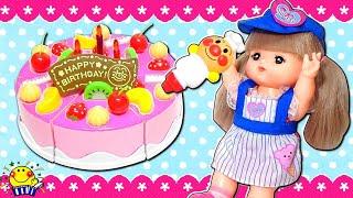 アンパンマンとメルちゃんがおもちゃのケーキ屋さんとアイスクリーム屋さんとジュース屋さんでお料理おままごと♩お店屋さんでお買い物ごっこするよ❤︎たまごMammy