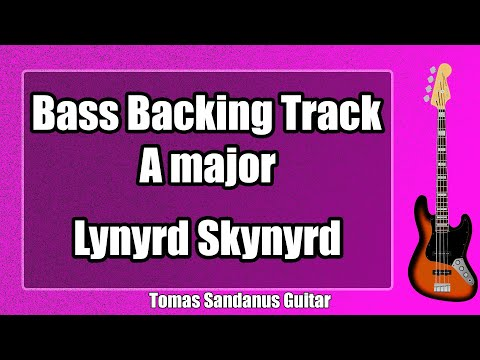 Bass Guitar Backing Track in A Major Slow Rock Style with Chords and Scale