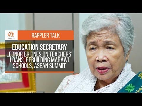 Rappler Talk: Leonor Briones on teachers' loans, rebuilding Marawi schools, ASEAN Summit