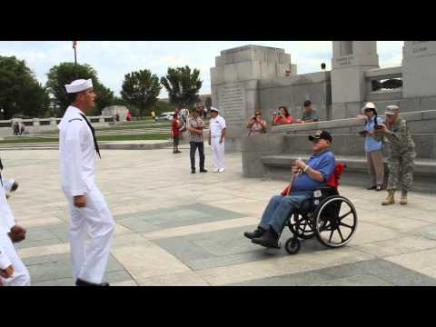 Anchors Away - being sung by sailors at the WWII Memorial t