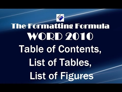 how to make a table of figures in word 2010