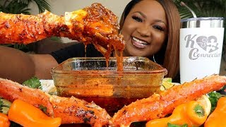 2X SPICY KING CRAB , SEAFOOD BOIL MUKBANG + BLOVES SMACKALICIOUS SAUCE