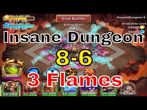 Castle Clash Insane Dungeon 8-6 3 Flames