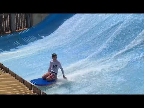 Wave boarding at Wild Wadi Water Park in Dubai.