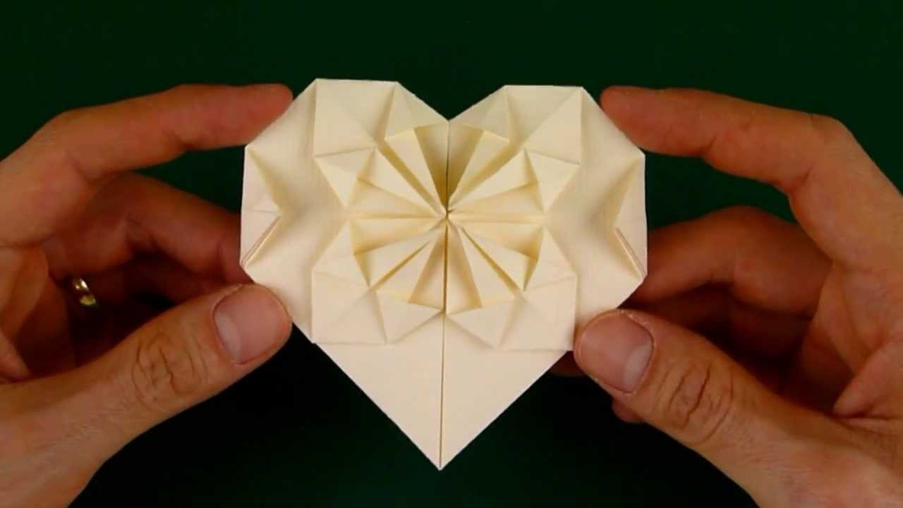 how to fold an origami heart with a starburst pattern youtube