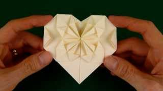 How to Fold an Origami Heart with a Starburst Pattern