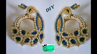 Peacock chandbali earrings making with silk thread   jewellery tutorials