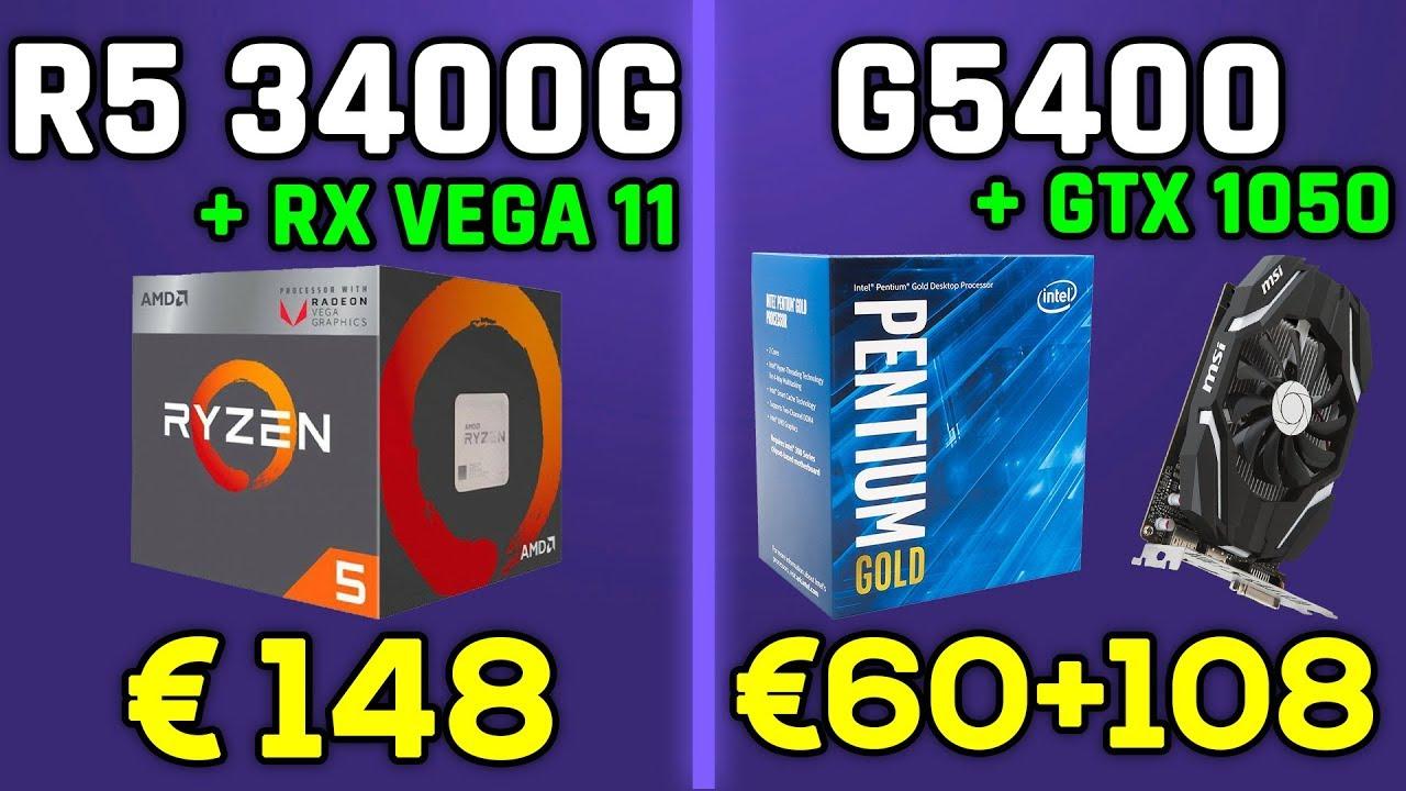Ryzen 5 3400g Rx Vega 11 Vs Pentium G5400 Rx 560 Cs Go Fortnite Lol Gta 5 Youtube