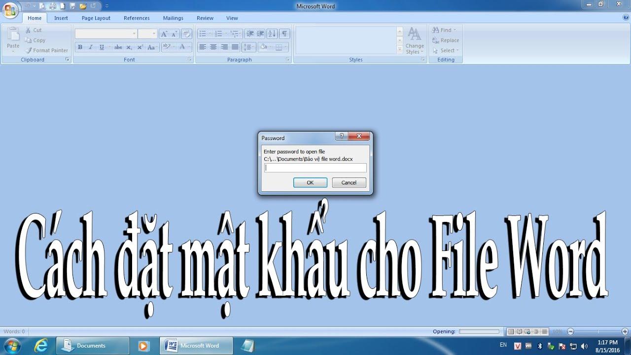Hướng dẫn sử dụng Word 2007: Cách đặt mật khẩu cho file Word - Đặt mật khẩu cho văn bản