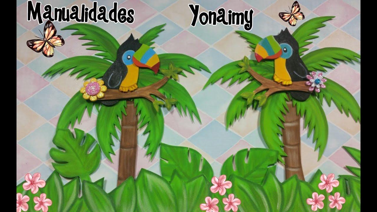 Tucanes coloridos en foamy o goma eva para realizar un - Plantillas infantiles para pintar paredes ...