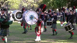 Ballater & District Pipe Band Beating Retreat on Ballater Green after Highland Games in 2018