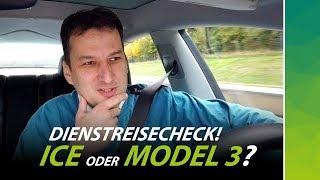 Dienstreisecheck ICE vs Tesla Model 3: Wer macht das Rennen?