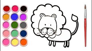 How To Draw Lion For Kids | Melukis dan Mewarna Untuk Anak-Anak