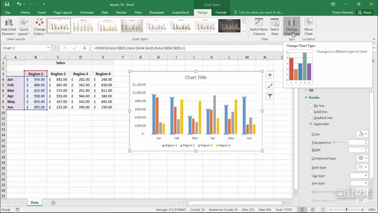 Change The Chart Type - Excel 2016 Charts