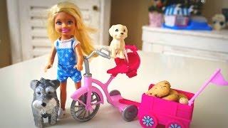 Дочка Барби и ее собачки едут в магазин за сладостями