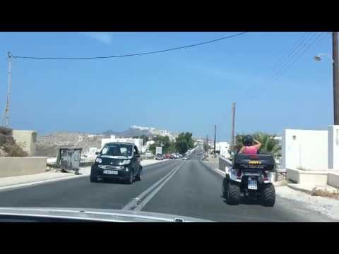 Driving from Oia to Fira on Greek Island of Santorini