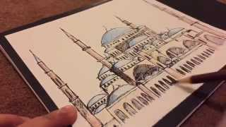 How to draw the Haga Sophia, speed drawing, blue mosque, turkey