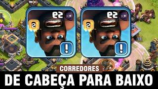 ATAQUE FULL CORREDORES - DESAFIO de CABEÇA pra BAIXO com CJR - Clash of Clans