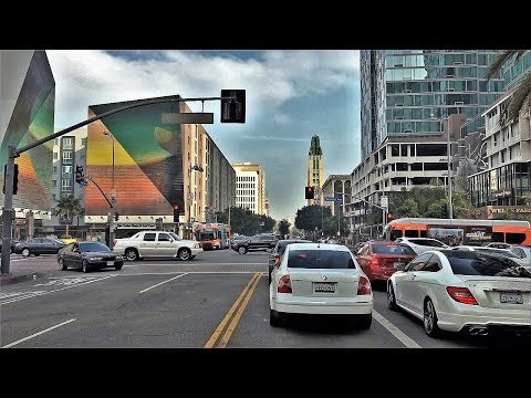 Driving Downtown - Koreatown - Los Angeles California USA