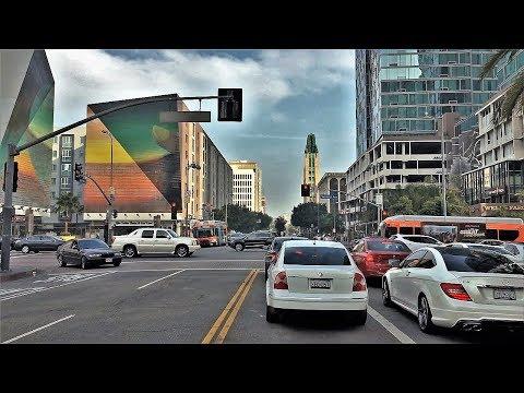 Driving Downtown - Koreatown - Los Angeles California USA