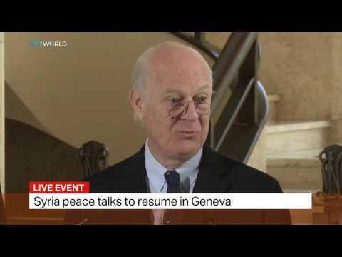 UN Special Envoy for Syria Staffan de Mistura speaks in Geneva