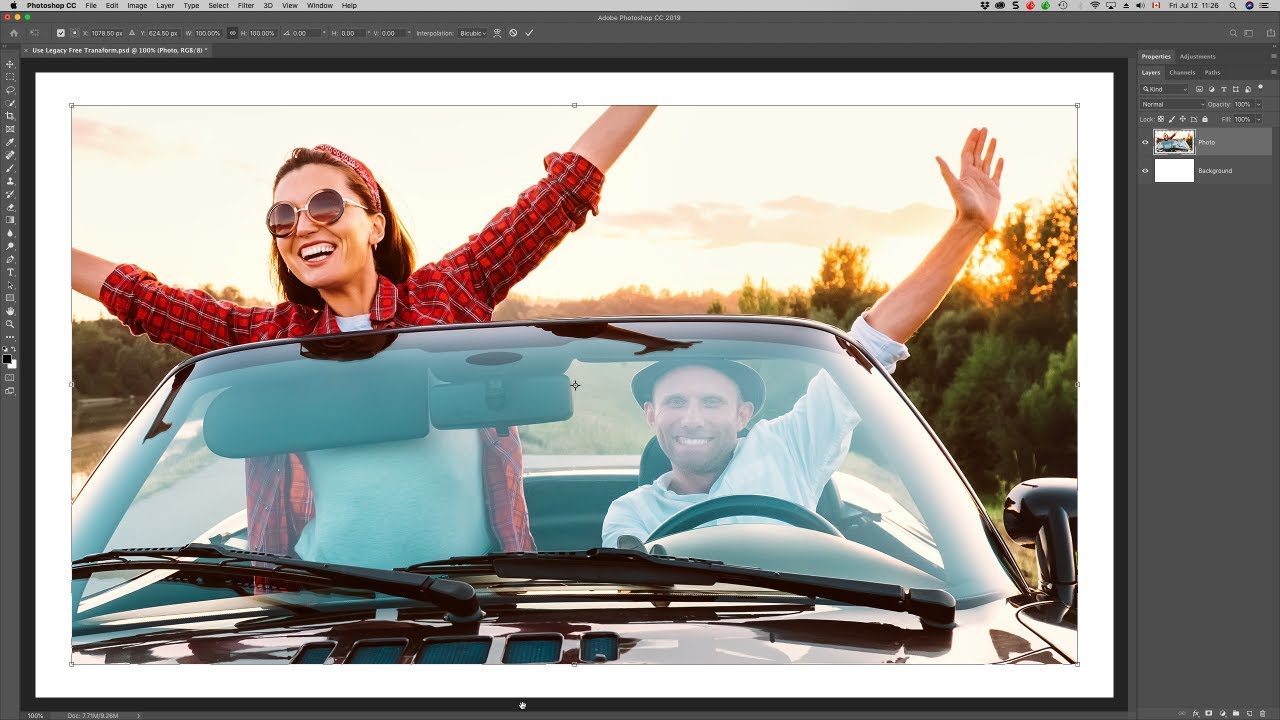 Restore the Legacy Free Transform command in Photoshop CC 2019