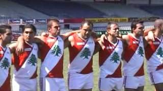 Lebanon Australian Football team sings national anthem