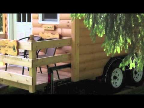Tiny House Log Cabin On A Trailer Just 128 Square Feet