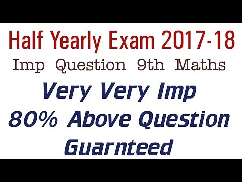 Imp For Half Yearly Exam Class 9 Maths Very Very Important Unsolved