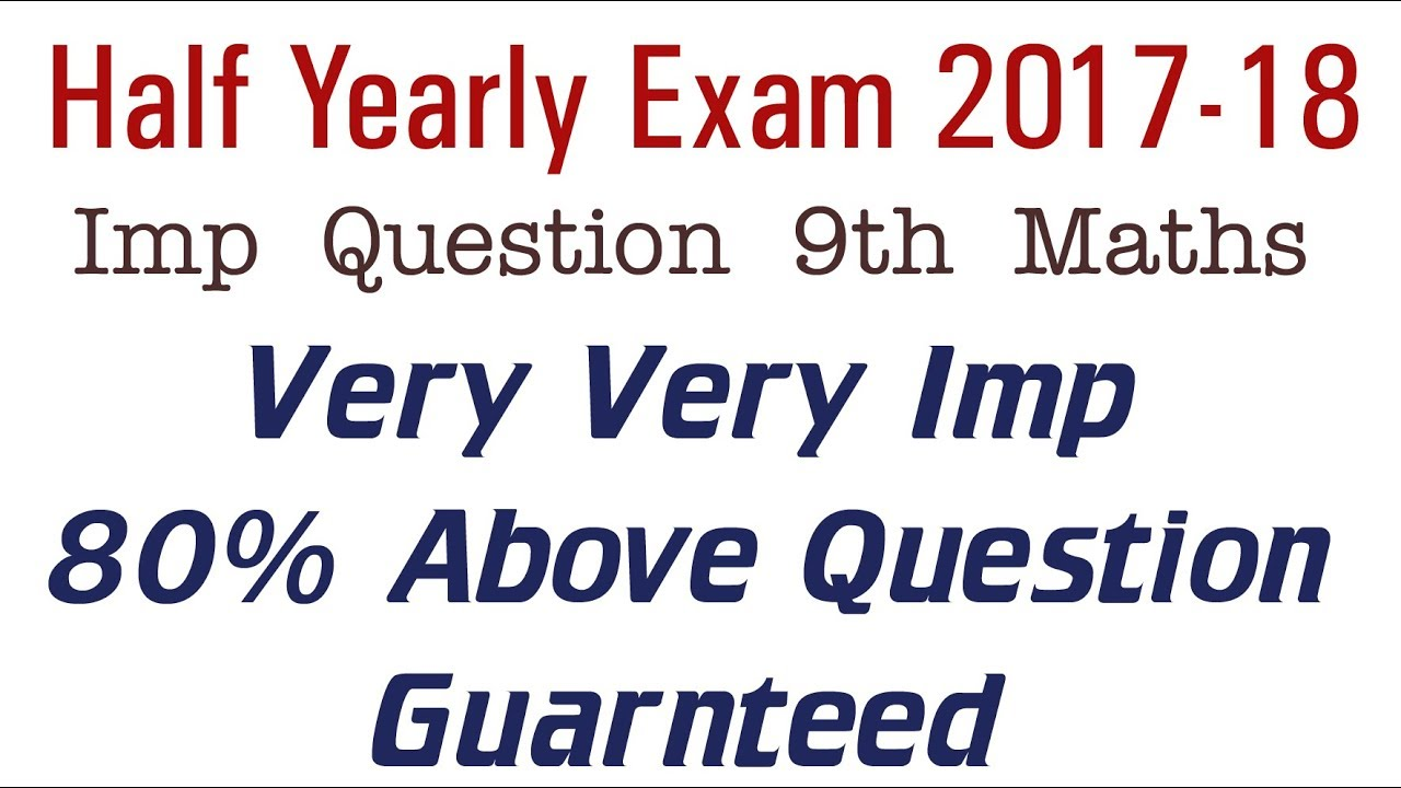 Imp For Half Yearly Exam Class 9 Maths Very Very Important Unsolved Paper  RBSE 2017-18