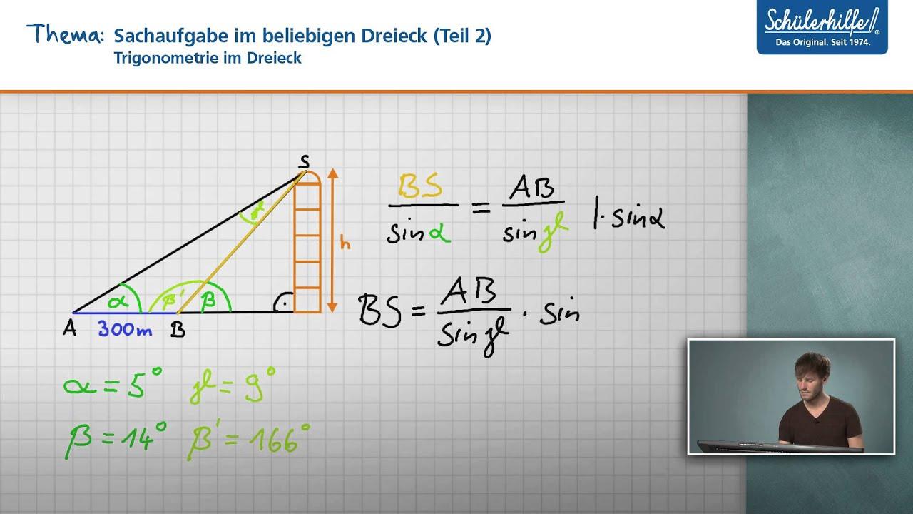 Anwendung in Textaufgaben // Trigonometrie im Dreieck // Mathematik ...