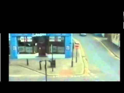 CCTV footage leaked of Derrick Bird driving and shooting through Whitehaven, Cumbria.