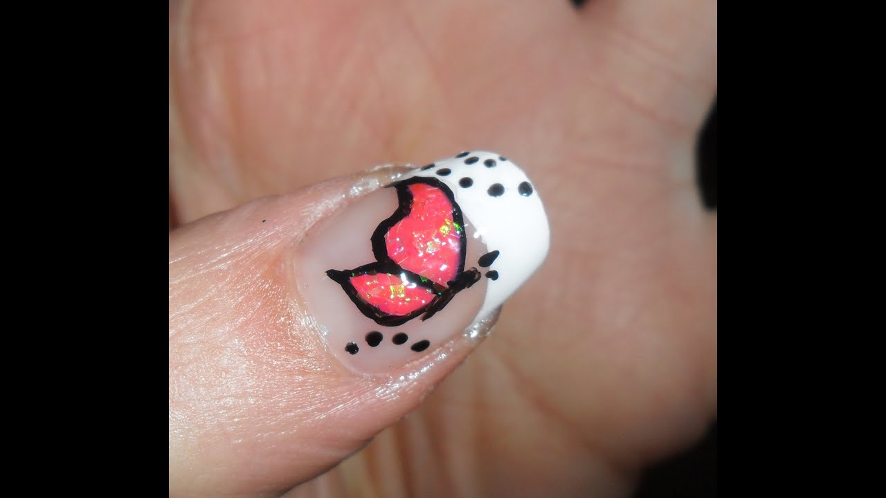 White French With Pink Butterfly Nail Art Tutorial Nail Art Farfalla Rosa Su French Bianco Youtube