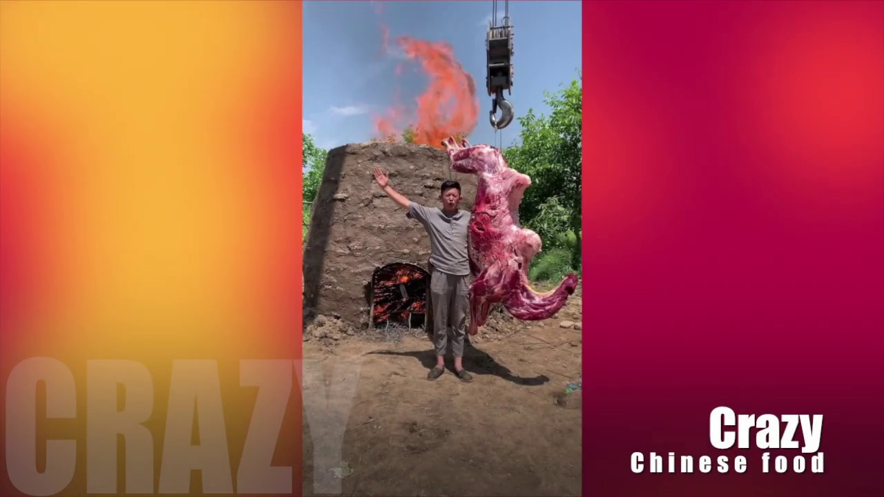 Crazy Chinese food: How to cook the whole camel? Grilling in the cave