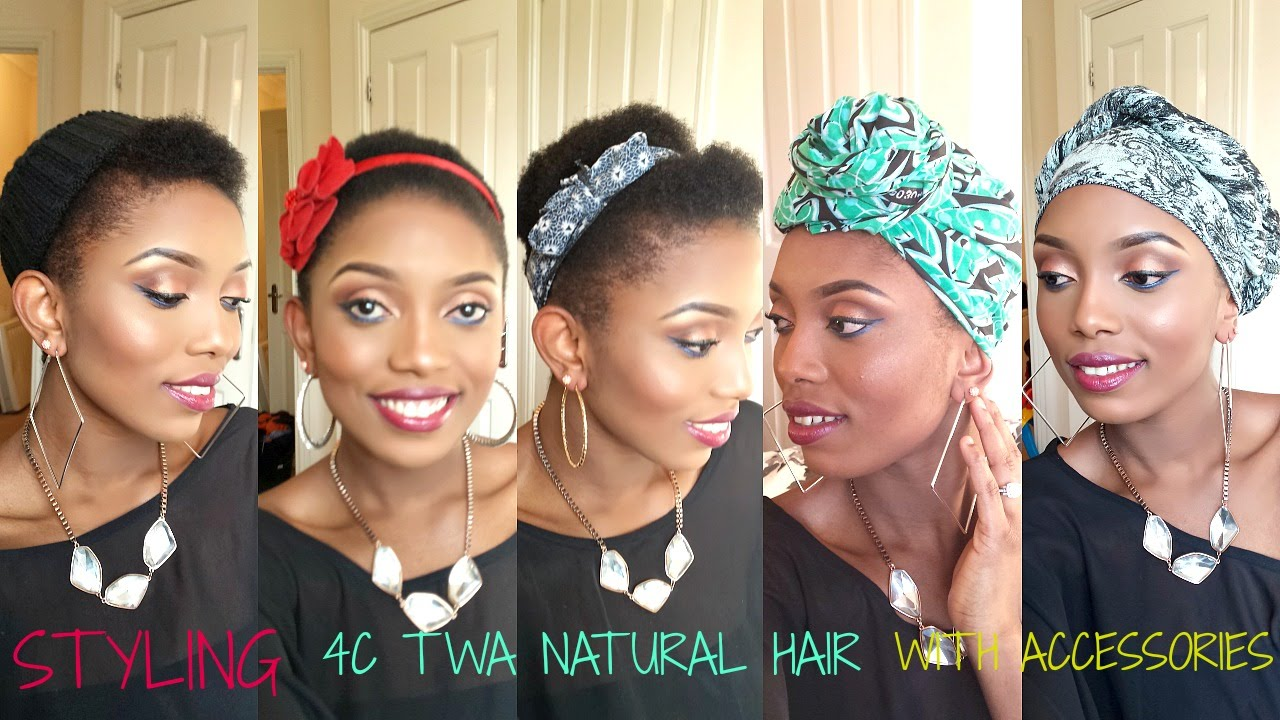 Natural Hair Styling 4c Twa With Scarf And Accessories 8 Styles