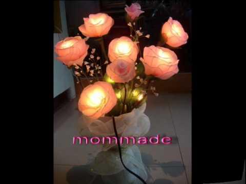 โคมไฟดอกไม้ทำจากผ้าใยบัว
